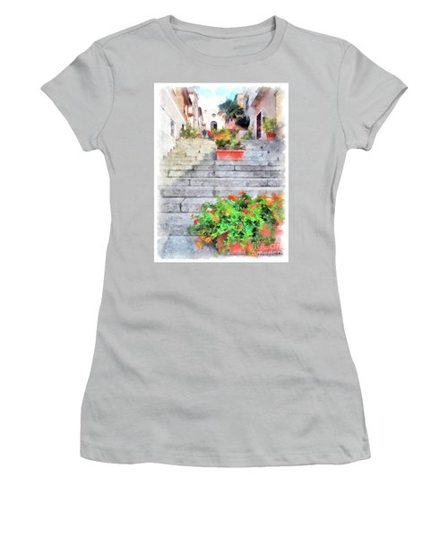 Arzachena Staircase And Church Of The Santa Lucia Women's T-Shirt (Athletic Fit)