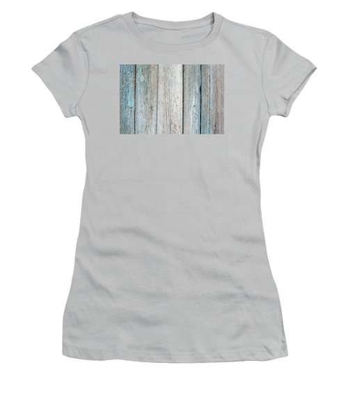 Women's T-Shirt (Junior Cut) featuring the photograph Blue Fading Paint On Wood by John Williams
