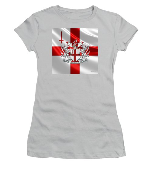 City Of London - Coat Of Arms Over Flag  Women's T-Shirt (Junior Cut) by Serge Averbukh