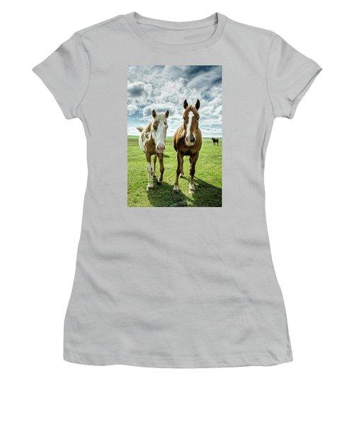Curious Friends Women's T-Shirt (Junior Cut) by Kristal Kraft