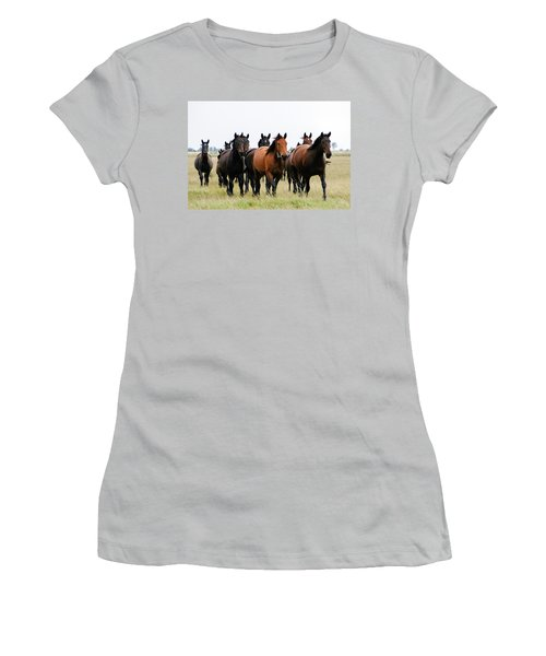 Horse Herd On The Hungarian Puszta Women's T-Shirt (Athletic Fit)
