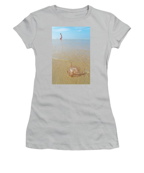 Women's T-Shirt (Junior Cut) featuring the photograph Jellyfish On Beach by Hans Engbers
