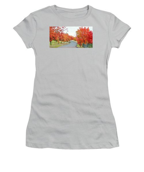 Women's T-Shirt (Athletic Fit) featuring the photograph Last Days Of Autumn by AJ Schibig