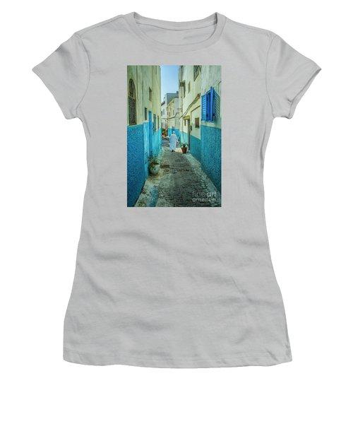 Man In White Djellaba Walking In Medina Of Rabat Women's T-Shirt (Junior Cut) by Patricia Hofmeester
