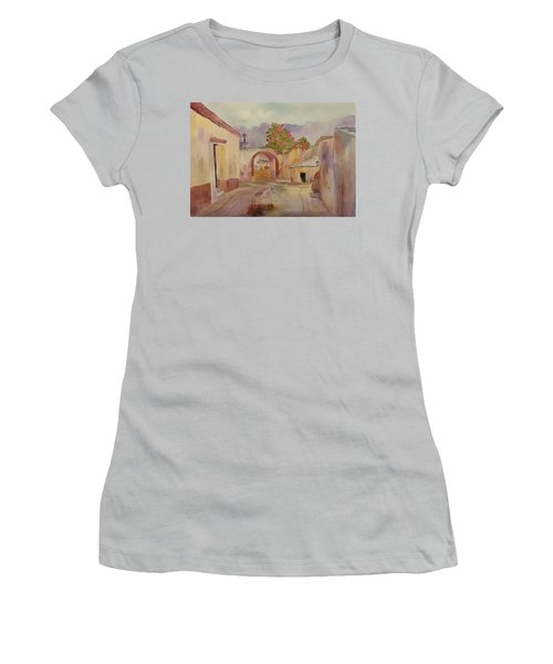 Mexican Street Scene Women's T-Shirt (Junior Cut) by Larry Hamilton