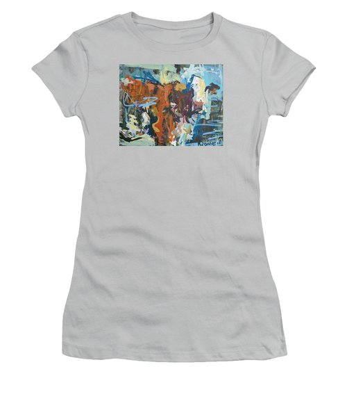 Mixed Media Cow Painting Women's T-Shirt (Athletic Fit)