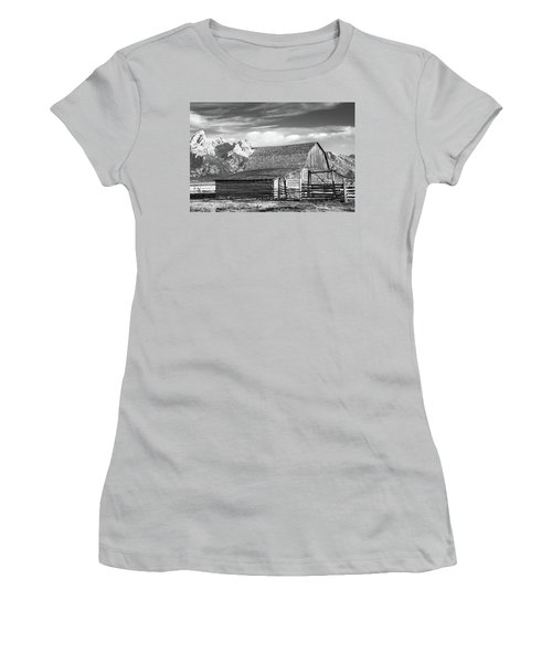 Women's T-Shirt (Athletic Fit) featuring the photograph Moulton Homestead - Barn by Colleen Coccia