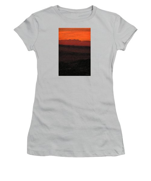 Not Quite Rothko - Blood Red Skies Women's T-Shirt (Junior Cut) by Serge Averbukh