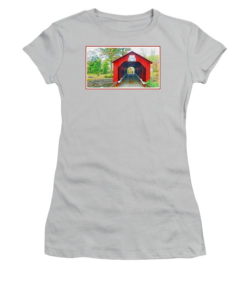 Parr's Mill Covered Bridge, Columbia County, Pennsylvania Women's T-Shirt (Junior Cut) by A Gurmankin