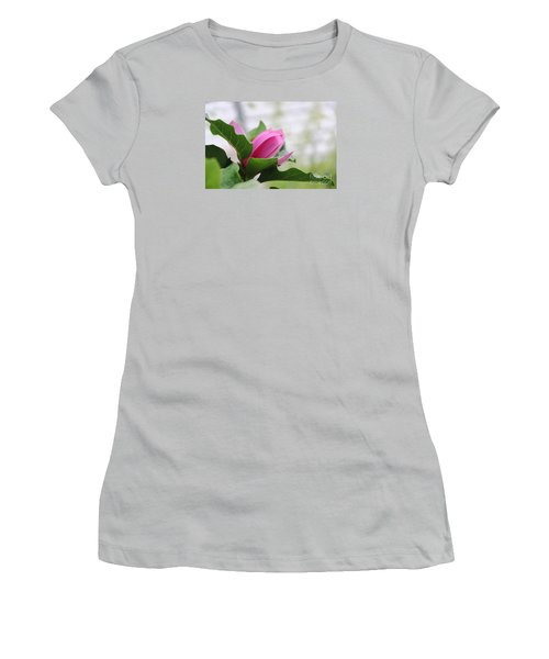Women's T-Shirt (Junior Cut) featuring the photograph Pink Magnolia  by Yumi Johnson