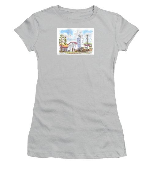 Santa Cruz Mission, Santa Cruz, California Women's T-Shirt (Junior Cut) by Carlos G Groppa