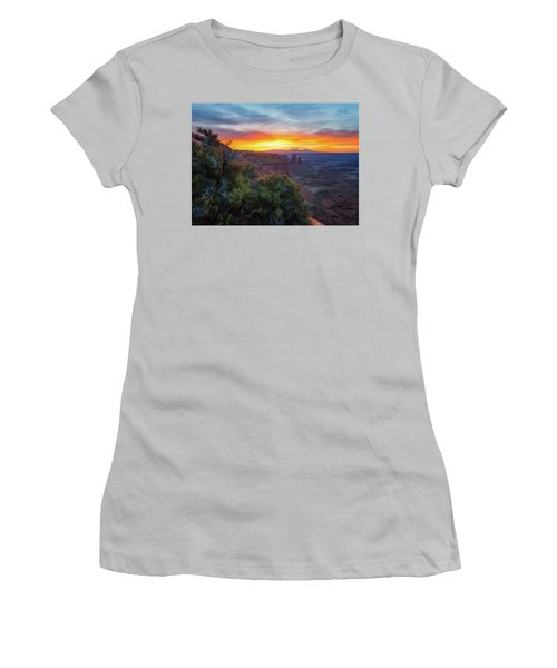 Women's T-Shirt (Athletic Fit) featuring the photograph Sunrise Over Canyonlands by Darren White