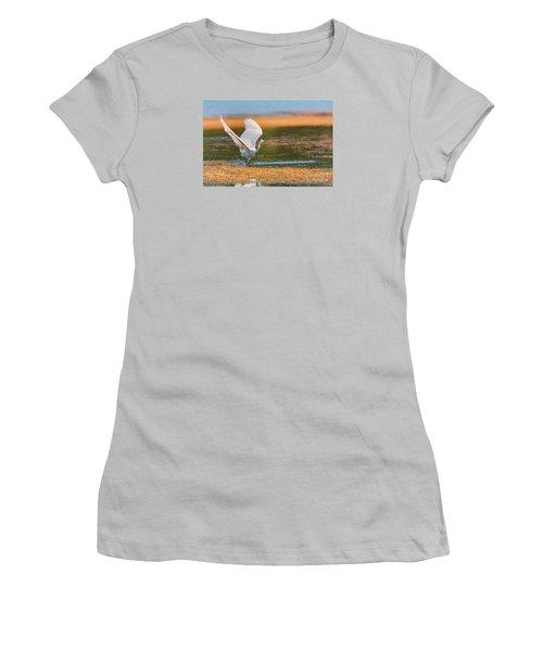 Women's T-Shirt (Junior Cut) featuring the photograph Wading by Jivko Nakev