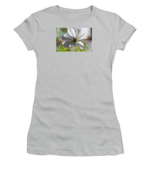 Women's T-Shirt (Junior Cut) featuring the photograph White Cosmos by Yumi Johnson