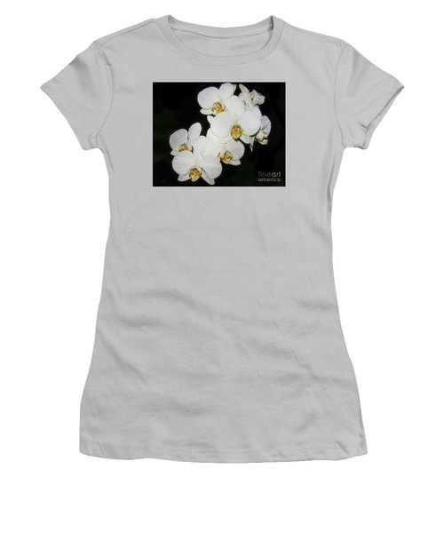 Women's T-Shirt (Junior Cut) featuring the photograph White Orchid by Elvira Ladocki