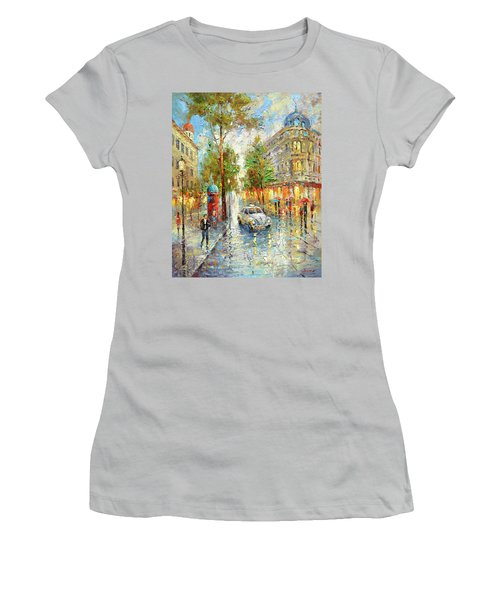 White Taxi Women's T-Shirt (Junior Cut) by Dmitry Spiros