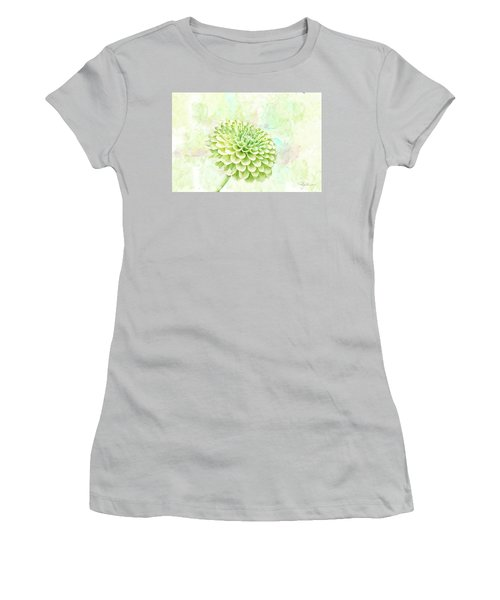 10891 Green Chrysanthemum Women's T-Shirt (Junior Cut) by Pamela Williams