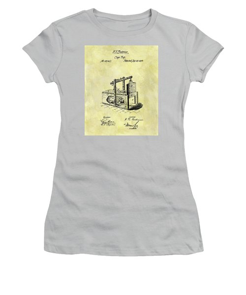 Women's T-Shirt (Junior Cut) featuring the mixed media 1870 Mousetrap Patent by Dan Sproul