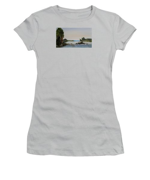 Women's T-Shirt (Junior Cut) featuring the painting 19 Geese by Marilyn  McNish