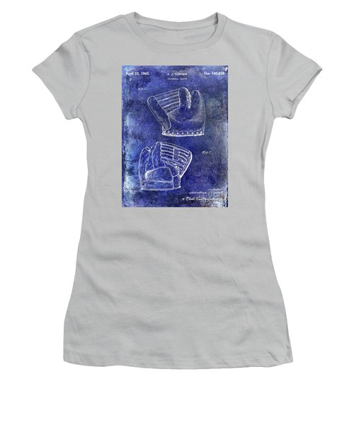 1945 Baseball Glove Patent Blue Women's T-Shirt (Athletic Fit)