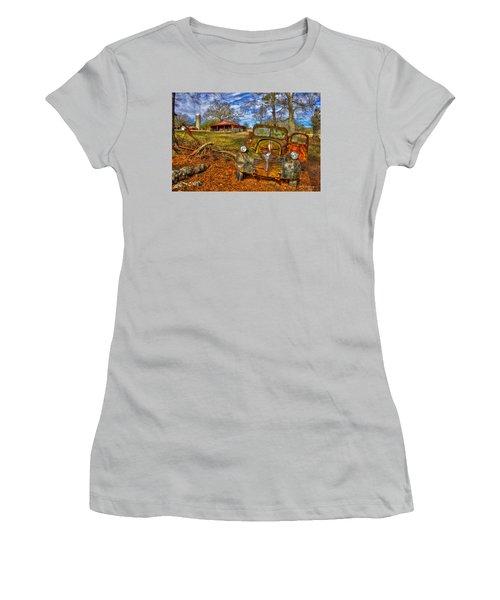 1947 Dodge Dump Truck Country Scene Art Women's T-Shirt (Junior Cut) by Reid Callaway