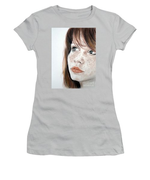 Red Hair And Freckled Beauty Women's T-Shirt (Athletic Fit)