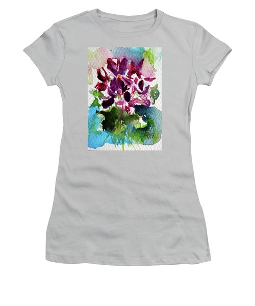 Women's T-Shirt (Junior Cut) featuring the painting Violet by Kovacs Anna Brigitta