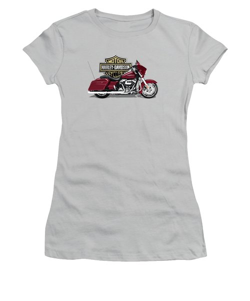 2017 Harley-davidson Street Glide Special Motorcycle With 3d Badge Over Vintage Background  Women's T-Shirt (Athletic Fit)