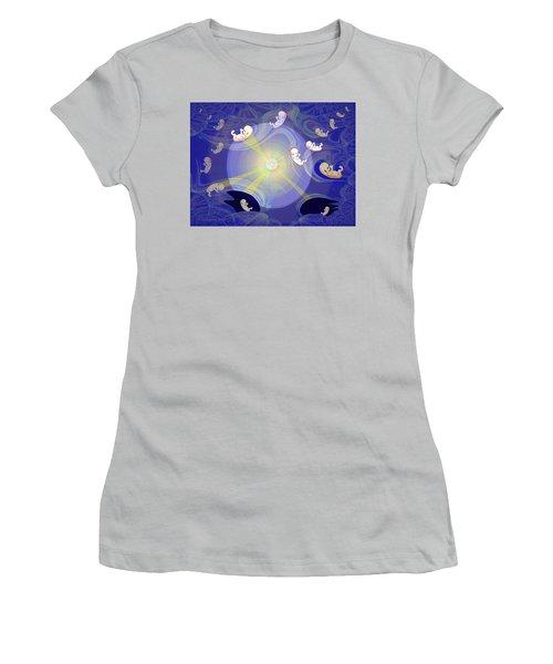 Women's T-Shirt (Junior Cut) featuring the digital art 2041 - The Beginning 2017 by Irmgard Schoendorf Welch