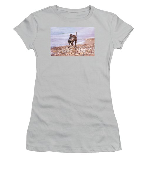 Women's T-Shirt (Athletic Fit) featuring the photograph American Pitbull Terrier by Peter Lakomy