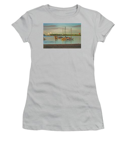 Women's T-Shirt (Junior Cut) featuring the digital art 3- Anchored Out by Joseph Keane