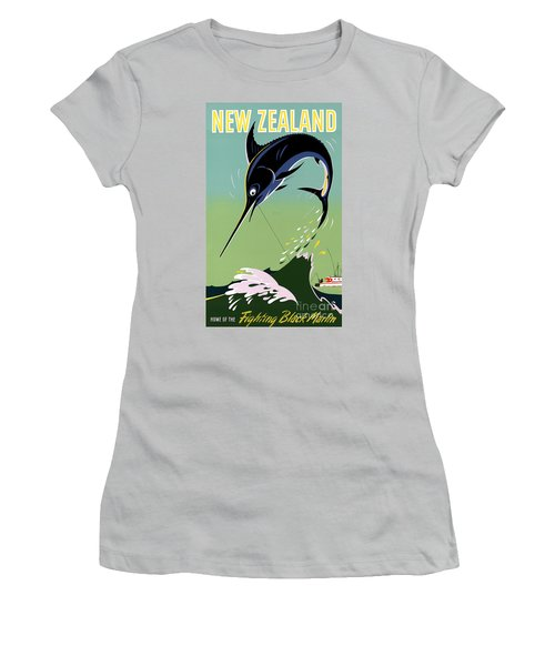 New Zealand Vintage Travel Poster Restored Women's T-Shirt (Junior Cut) by Carsten Reisinger