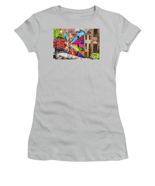 V - J Day Mural By Eduardo Kobra Women's T-Shirt (Athletic Fit)