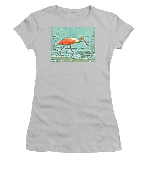 Women's T-Shirt (Junior Cut) featuring the digital art 4- Roseate Spoonbill by Joseph Keane