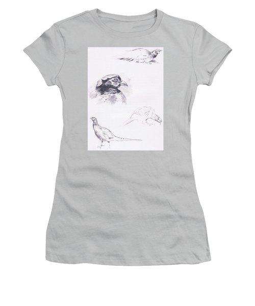Pheasants Women's T-Shirt (Junior Cut) by Archibald Thorburn