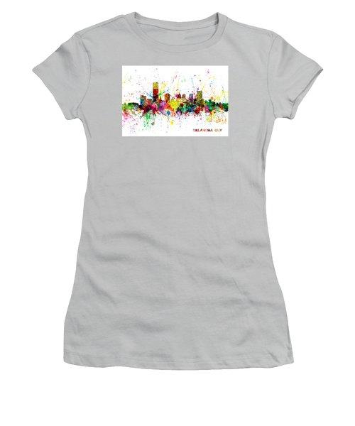 Women's T-Shirt (Junior Cut) featuring the digital art Oklahoma City Skyline by Michael Tompsett