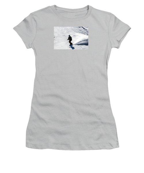 A Snowboarder Descends Aspen Mountain Women's T-Shirt (Junior Cut) by Carol M Highsmith