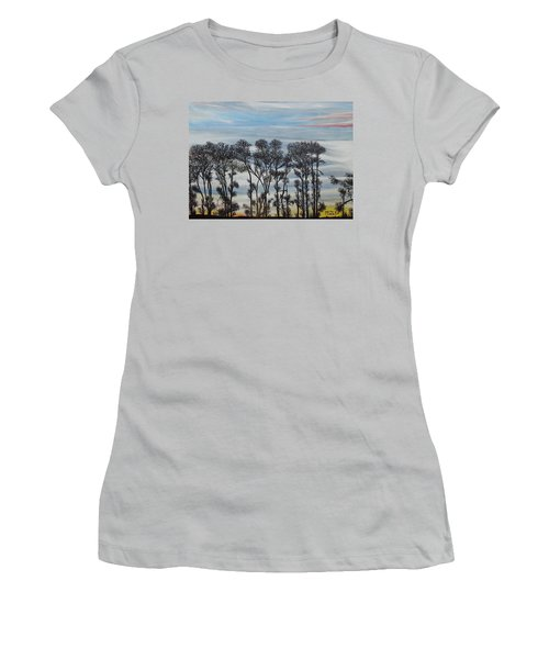 Women's T-Shirt (Junior Cut) featuring the painting A Treeline Silhouette by Marilyn  McNish