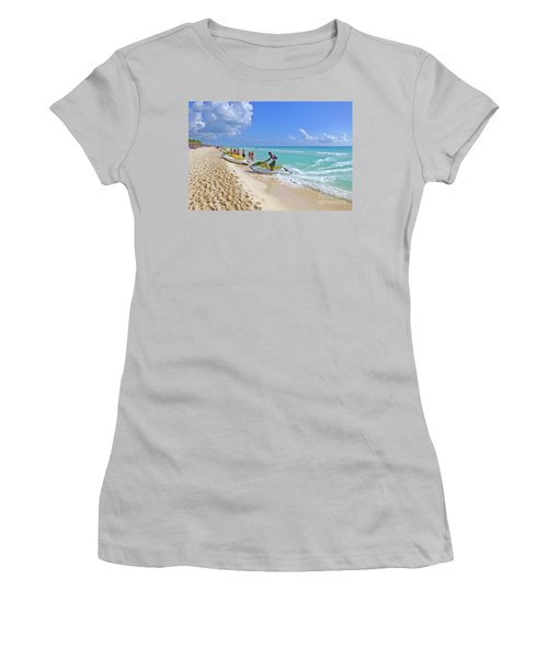 Women's T-Shirt (Athletic Fit) featuring the digital art Active Beach M3 by Francesca Mackenney