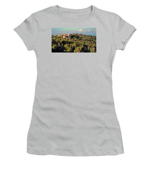 Women's T-Shirt (Junior Cut) featuring the photograph Adobe Homestead Santa Fe by Diana Mary Sharpton