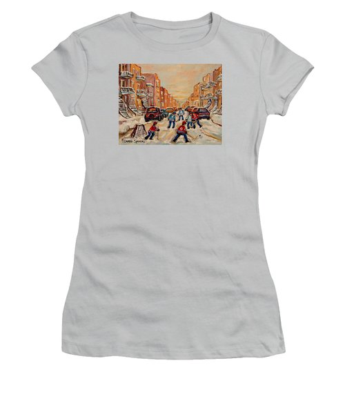 Women's T-Shirt (Junior Cut) featuring the painting After School Hockey Game by Carole Spandau
