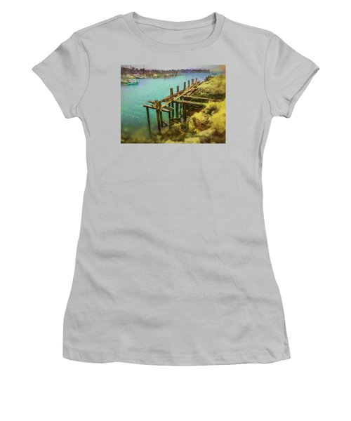 Aged Docks From Winthrop Women's T-Shirt (Athletic Fit)