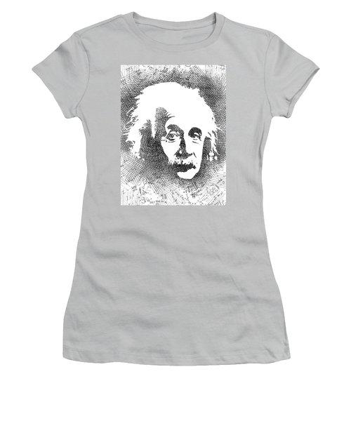 Albert Einstein Bw  Women's T-Shirt (Junior Cut) by Mihaela Pater
