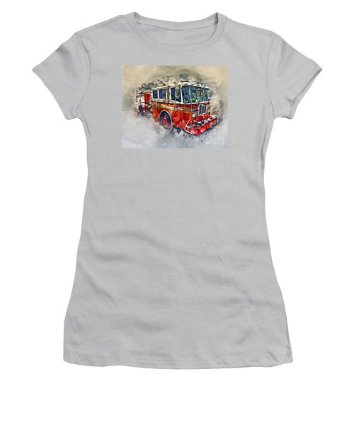 American Fire Truck Women's T-Shirt (Athletic Fit)