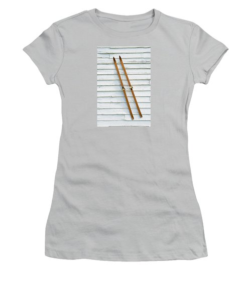 Women's T-Shirt (Junior Cut) featuring the photograph Antique Skis On The Wall by Gary Slawsky