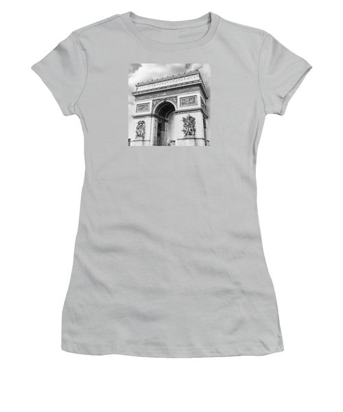 Arch Of Triumph - Paris - Black And White Women's T-Shirt (Athletic Fit)
