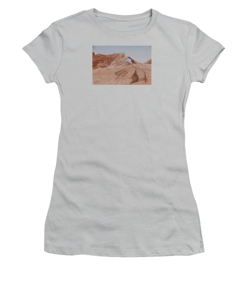 Women's T-Shirt (Junior Cut) featuring the painting Arch Rock - A Watercolor Sketch by Joel Deutsch