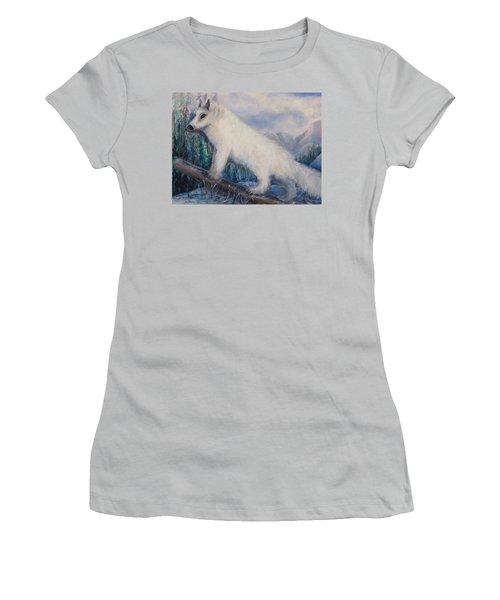 Artic Fox Women's T-Shirt (Junior Cut) by Bernadette Krupa