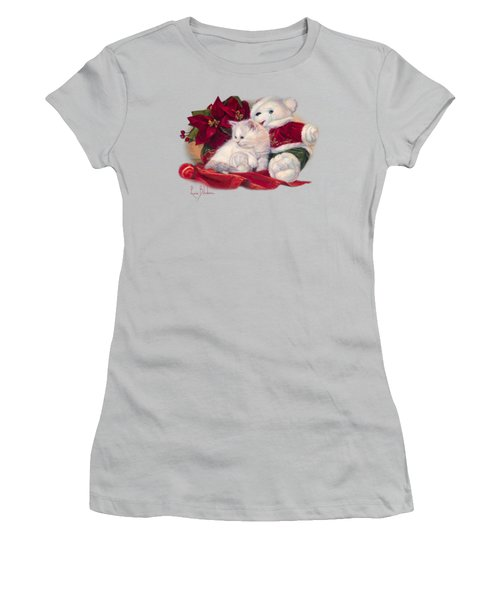 Christmas Kitten Women's T-Shirt (Junior Cut) by Lucie Bilodeau