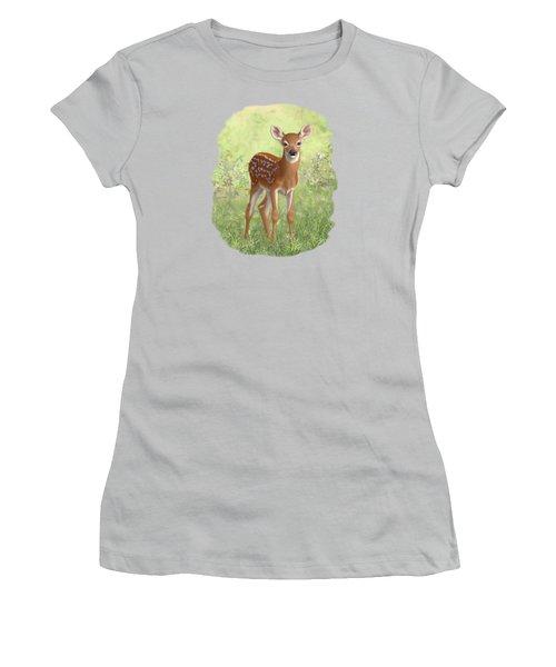 Cute Whitetail Deer Fawn Women's T-Shirt (Junior Cut)